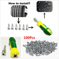 100x 15mm Screw in Tire Stud Snow Spikes Wheel Tyres Anti Slip Studs+Sleeve Tool