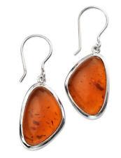 Pendientes de joyería con gemas ganchos ámbar de plata de ley