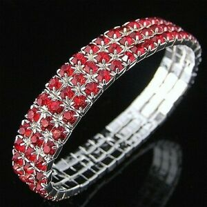 WOMENS DIAMANTE STRETCHY NEW 3 ROW BRACELETS- 10 DIFFERENT COLOURS AVAILABLE-BR