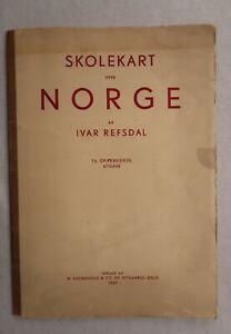 Vtg 1937 School Map Norway Ivar Refsdal Norwegian Language Pull Out Folded Map