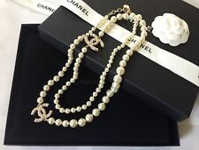 "New NIB 42"" Authentic Chanel Gold Pearl Necklace CC Logo Chain Classic"
