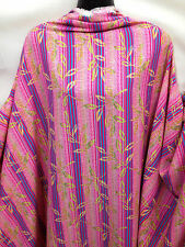 100% polyester Crepe Finish Pink Striped Leaf Print Dress/Crafts Fabric*NEW*