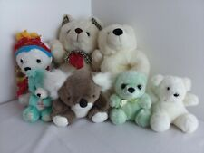 Lot of 7 Stuffed Plush Bears Animals Different Sizes & Colors