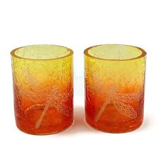 YANKEE CANDLE 2 Sunset Amber Crackle Glass Dragonfly Votive Candle Holders