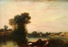 Richard Parkes BONINGTON tableau anglais Romantisme paysage lac vaches MANTES