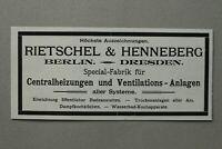 AuK5) Werbung Anzeige Berlin 1902 Rietschel & Henneberg Zentralheizungen