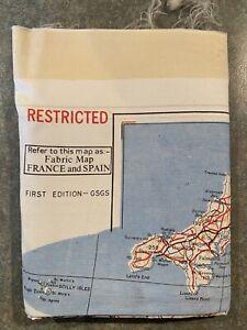 Genuine RAF First Edition Silk Scarf Escape Evasion Map Spain & France 1945-1953