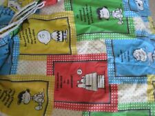 Peanuts Fitted Twin Bedsheet Charlie Brown Snoopy Fabric Vintage eeuc