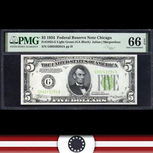 1934 $5 CHICAGO FRN LIGHT GREEN SEAL PMG 66 EPQ Fr 1955-G LGS  G09249284A