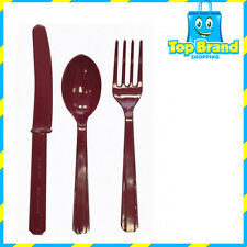 288 X PLASTIC CUTLERY BURGUNDY KNIFE - FOLK - SPOON ASST. BULK BUY CHEAP PARTY
