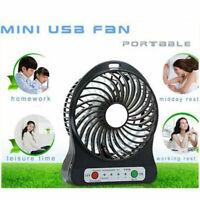 Rechargeable Mini Fan Air Cooler Portable LED Light Desk USB Fan 18650 Battery