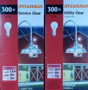 SYLVANIA 300W Service Clear PS30 Incandescent Light Bulb Indoor Outdoor 2pc LOT