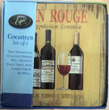 Epic Vin Rouge Coasters, set of 4, Wine Bottles / Wine Glass Design, Cork backed