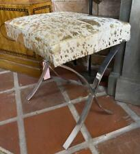 Cowhide Stool - Gold & White Colour - Silver Steel Legs - Hair on Cowhide