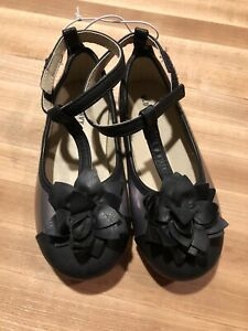 Brand New Old Navy Toddler Girl Black & Silver Dress Shoes With Flower, Size 9
