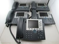 Lot of 5 Cisco CP-7965G Unified IP Phone SIP SCCP Telephone + Coil Handset