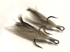 "Gamakatsu S-Shank RB ME Size 4 ""Smoke"" Xmarks Custom Feathered Trebles"