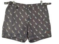 Marcs size 34 Grey Pelican Print Board Shorts Swim Shirts. Side & back pockets