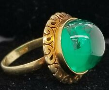 GORGEOUS VINTAGE 10K YELLOW GOLD   RING 13.55CT. GREEN EMERALD CABOCHON ROUND