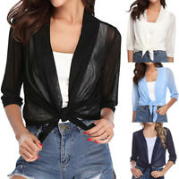 Women Pure Sheer Shrug Open Front Cropped 3/4 Sleeve Cardigan Tops Blouse New