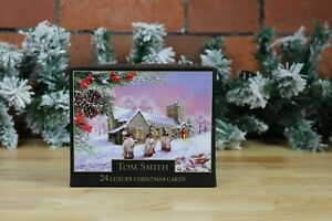 Tom Smith 24 Luxury Christmas Card 2 Designs with Glitter Detail & envelopes.