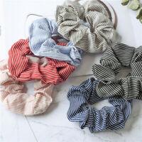 Women Girl Elastic Hair Rope Ring Tie Scrunchie Ponytail Holder Stripe Hair Band