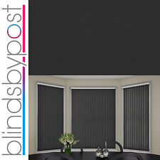 """Replacement Vertical Blind Slat 89mm (3.5"""") PLAIN BLACK - White or Black Weights"""