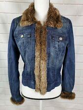 ALLEN B Women's Faux Fur Trim Denim Jacket Blue Jean size M Medium Coat