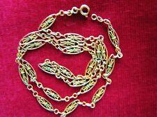 "COLLIER anc. MAILLONS filigranés plaqué OR PLATED GOLD VINTAGE ""1900 NECKLACE """