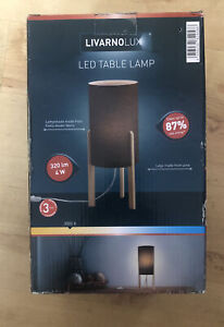 Livarno lux LED Table Lamp woven fabric shade, pine legs 320lm 4w, 320lm