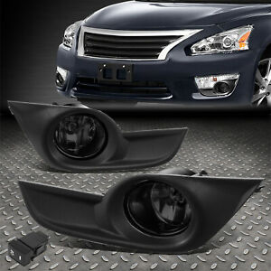 FOR 13-15 NISSAN ALTIMA SMOKED OE STYLE FRONT DRIVING FOG LIGHTS W/BEZEL+SWITCH