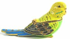 Beautiful Budgie or Budgerigar Jewelled & Enamelled Bird Trinket Box - Boxed