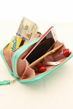 Women's iP / Galaxy PU Leather Double Zipper Mini Purse Wallet with Hand Grip