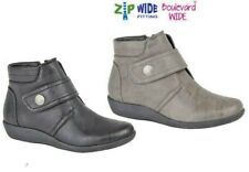 LADIES ANKLE BOOTS WIDE EE FIT ZIP GREY OR BLACK SIZE 3 4 5 6 7 8 9 UK