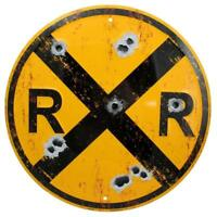 Railroad Crossing Distressed Rustic Round Metal Sign