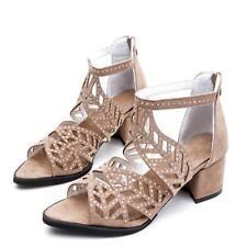 Women Peep Toe Block Heel Sandals Hollow Out Casual Gladiator Shoes Back Zipper