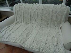 F&F Home Cream Chunky Knit  Acrylic Throw 170cm x 160cm