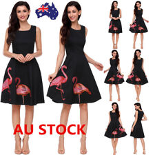 Women Vintage 50s 60s Flamingo Sleeveless Swing Dress Cocktail Party Rockabilly