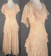 VTG 1920s 1930s Women's Floral Print Net Tiered Peplum Dress #1699 20s 30s
