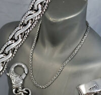 """ARTISAN TRIBAL BRAIDED WOVEN CHAIN 925 STERLING SILVER MENS NECKLACE 18 to 28"""""""