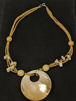 Tan Beige Mother Of Pearl Round Disc Beaded Wood Bead Choker Necklace