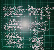 6 x Tattered Lace Christmas Sentiment Die Cuts - Card Making, Scrapbooking etc.