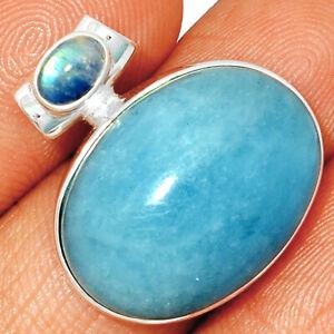 Aquamarine - Brazil & Moonstone 925 Sterling Silver Pendant Jewelry BP56632