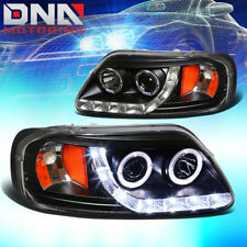 FOR 97-03 F150/EXPEDITION BLACK DUAL HALO PROJECTOR+LED/AMBER CORNER HEAD LIGHT