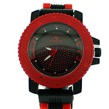 MENS ICED OUT RED/BLACK CAPTAIN BLING ICE NATION HIP HOP BULLET BAND WATCH