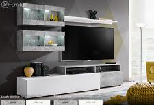 Modern Wall Unit TV Display Living Room Furniture LIGHT LED Push Click Free P&P