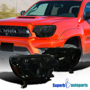 For 2012-2015 Toyota 12-15 Tacoma Pickup Factory Style Headlights Smoke Lamps