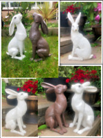 Moon Gazing Hare Garden Ornament Rabbit Sculpture Resin Statue Outdoor Deco New