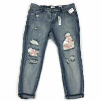 William Rast Womens My Ex's Jeans Domming Distressed Button Fly Floral Plus Size