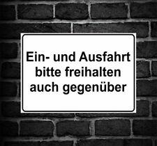 """Schild Hinweisschild Hinweis """"Ein- und Ausfahrt bitte freihalten auch gegenüber"""""""